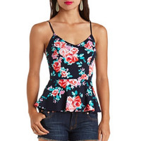 STRAPPY FLORAL PRINT PEPLUM TOP