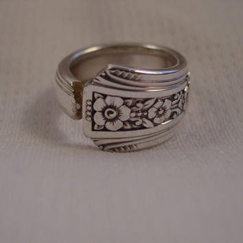 A Spoon Rings Plus Size 7 Cute Spoon Ring Fortune Pattern Antique Silverware Rings t440