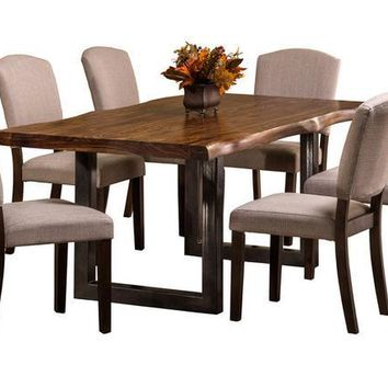 102039 Emerson Rectangle Dining Set - Natural Sheesham with Beige Fabric - Free Shipping!