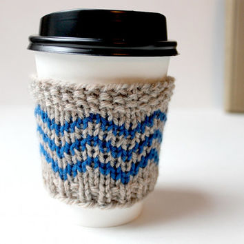 Chevron Cup Cozy, Knitted Cup Sleeve, Coffee Cozy Mom, Mothers Day Gift, Blue Coffee Sleeve, Reusable Drink Cover, Hipster Coffee Cozy