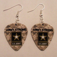US Army military camo Guitar Pick Earrings by featherpick on Etsy