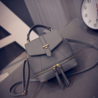 The New Fashion Embossed Leather Zipper  Mini Shoulder Bag Backpack