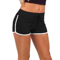 Womens Casual Black and White Elastic Sport Shorts