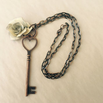 HEART KEY copper plated necklace with painted metal flower charm pendant necklace