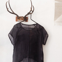Black Silk Habotai Hand Dyed Sheer Top [Black Silk Habotai Breeze Top] : ORN HANSEN, Vintage + American Made General Store
