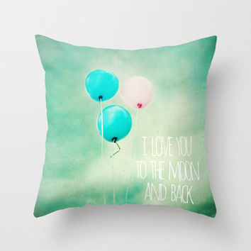 i love you to the moon and back Throw Pillow by Sylvia Cook Photography