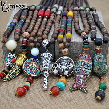 Handmade Nepal Buddhist Mala Wood Beads Pendant Necklace Ethnic Horn Fish Long Statement Necklace