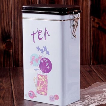 Large Sealed White Purple Tea Pot Kitchen Coffee Tea Jar Tin Metal Home Decor Can