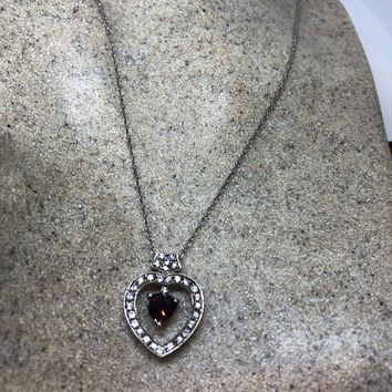 Nemesis Vintage Handmade 925 Sterling Silver white sapphire Genuine Garnet Antique heart Pendant Necklace
