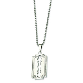 Stainless Steel 1/20ct. Diamond Razor Blade 24in Necklace SRN365