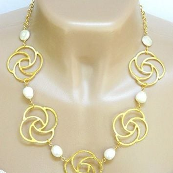 Gold Plate Swirl Link Necklace White Freshwater Pearls Short Handmade