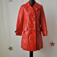 1960's German Red Patent Vinyl Raincoat Mod Fashion Double Breasted Size Medium