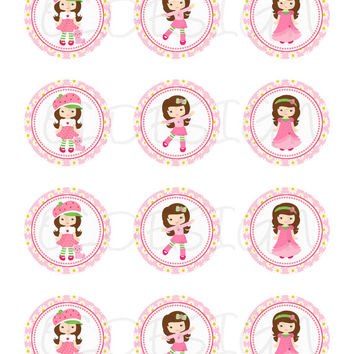 Strawberry Shortcake inspired Stickers, Cupcake Topper, Tags, great for birthday partys. Digital file