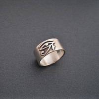Eye Of Ra Ring - Sterling Silver Band - Satin Finish