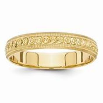 14k Yellow Gold 3mm Design Etched Wedding Band Ring