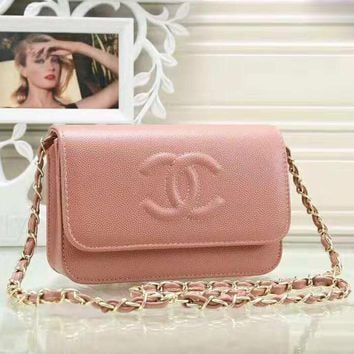 Fashion Women New Leather Solid Color Chain Shoulder Bag Crossbody Bag Pink