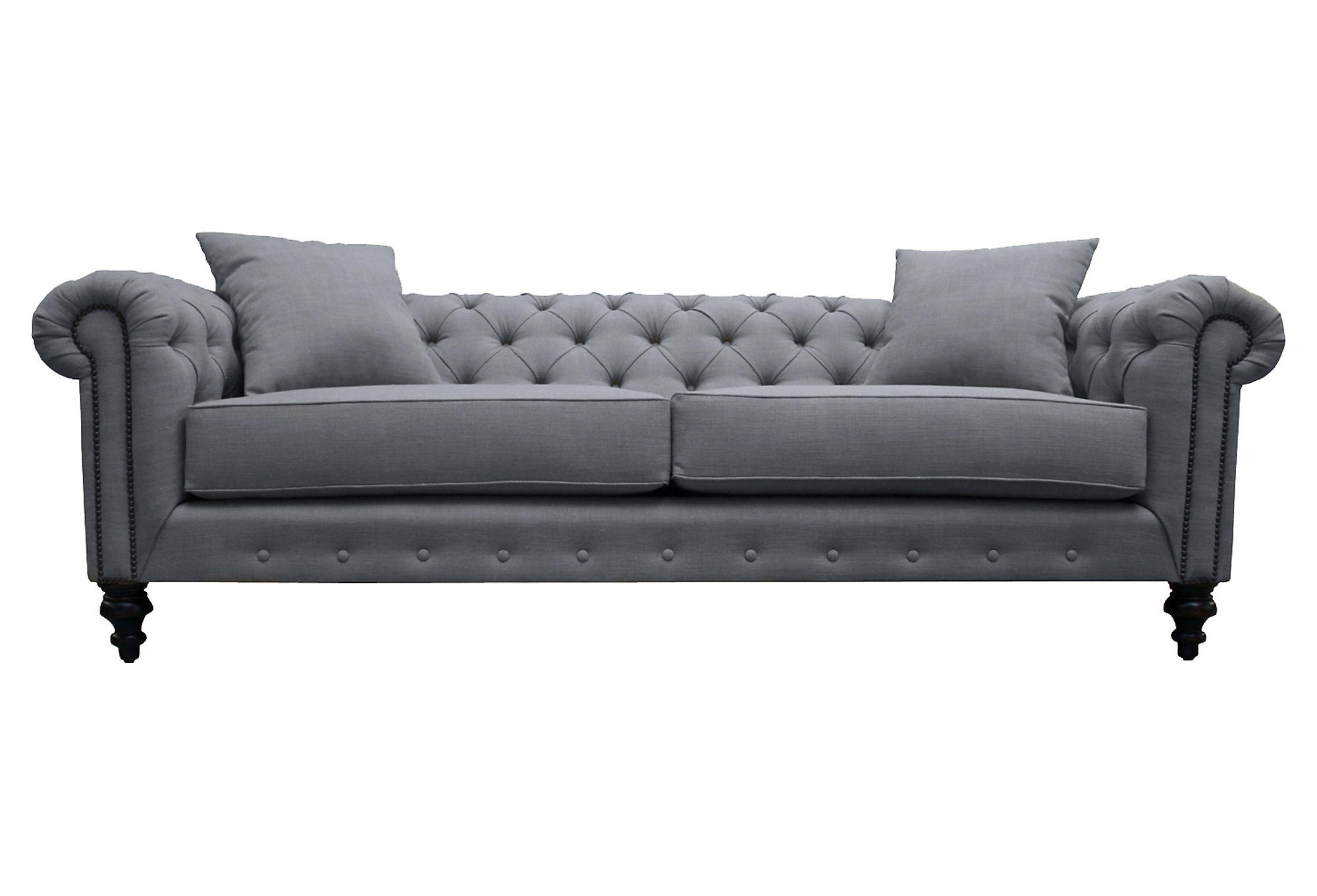 maria 90 tufted chesterfield sofa gray from one kings lane. Black Bedroom Furniture Sets. Home Design Ideas
