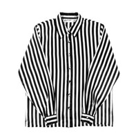 Striped Shirt - Black White Button Down Oversize Boxy Minimal 90s Grunge Goth - Women's Size Small Medium Sm Med S M