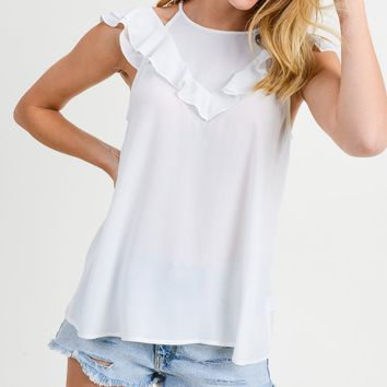 White Ruffle Cold Shoulder Blouse