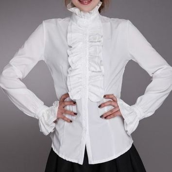 Victorian Womens Long Sleeves Tops High Neck Frilly Ruffle Blouse - Free Shipping