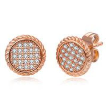 STYLEDOME UUNICO European and American fashion jewelry round & square stud earrings AAA zircon Valentine's Day gift Boucles d'oreilles k87