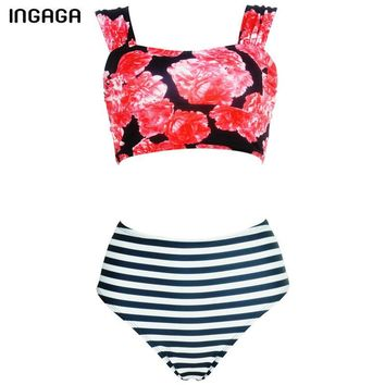 New High Waist Sexy Bikini Set Striped Print Swimwear Women Bandage Swim Summer Bikini Top Bathing Suits
