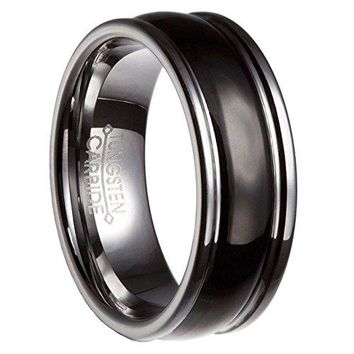 [Free Shipping] 8MM Black Silver Tungsten Carbide Mens Wedding Band Ring