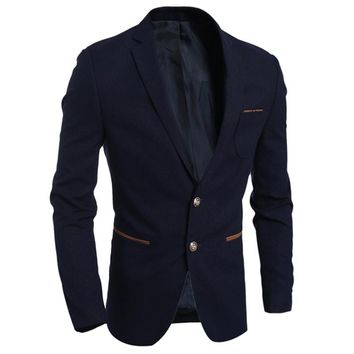 Free shipping  New Arrival Mens Blazers Slim fit Solid Color Male Casual Suit Jacket Button decoration Fashion All-match H7715
