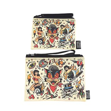 Liquorbrand traditional tattoo flash Lucky 13 wristlet pouch bag and Coin Purse