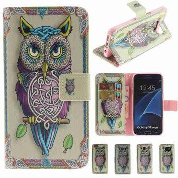 Luxury Owl Pattern Flip PU Leather Mobile Phone Case With Wallet Holder Card Slots Kickstand Cover Compatible For iPhone 5 5S SE