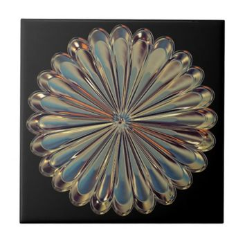 Art deco glass gem flower medallion tile