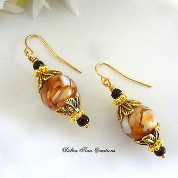 Mother of Pearl Earrings Dark Amber Topaz Crystal Mother of Pearl Shell Fall Brown Antique Gold Jewelry Gift for Her Brown Earrings Clip