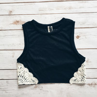 Lace Trim High Neck Tank (Black)