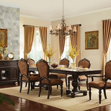 7 pc russian hill collection cherry finish wood double pedestal dining table set with accented ornate carvings