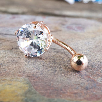 Simple Rose Gold Belly Button Ring Jewelry