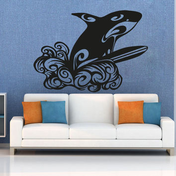 Vinyl Wall Decal Sticker Whale Surfing #OS_AA1232