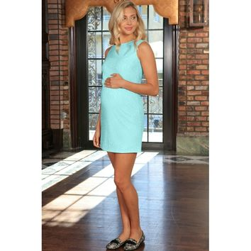 Mint Blue Stretchy Lace Sleeveless Party Shift Dress - Women Maternity