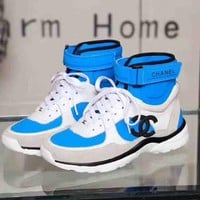 Chanel New Fashion High Top Sports Shoes Blue
