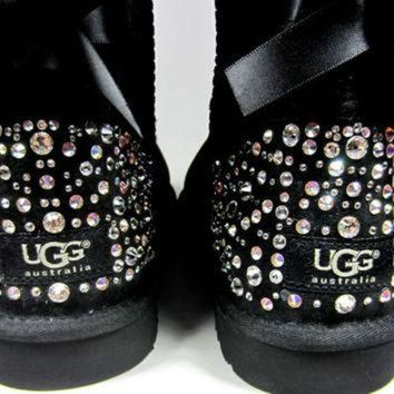 ICIK8X2 EXCLUSIVE - Swarovski Crystal Embellished Bailey Bow Uggs in Sparkly Night (TM) - Wint