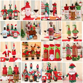 Christmas Decoration Santa Claus Wine Bottle Cover Gift Santa Sack Bottle Hold Bag Snowman Xmas Decor Home Decoration