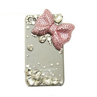 Handmade hard case for HTC EVO 4G: Bling pink diamond bow (customized are welcome)