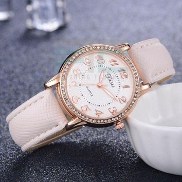 Women's Rhinestone Lined Face Watch With Leather Band