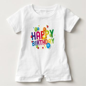 Happy Birthday Balloons Rainbow Baby Romper
