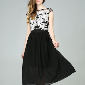 Floral Pattern Short Sleeve Pleated Chiffon Midi Dress