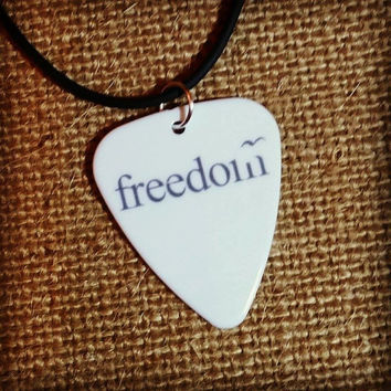 Freedom guitar pick on black necklace with bird design - Gorgeous and Unique!