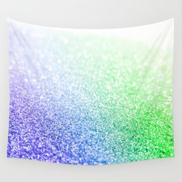 Blue Lavender Green Ombre Glitter Wall Tapestry by SimpleChic