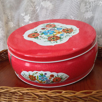 Vintage Cookie Tin, Large Round Mid Century Style, Red Decor, Shabby Cottage, Kitsch, Deer Park, Wildflower Design Tin