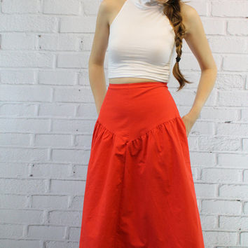 80s Vintage Red Skirt S / 1980s Midi Cotton Skirt / The Sweets Skirt