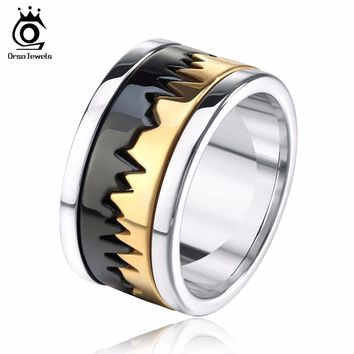 ORSA JEWELS Biker Men's Ring Perfect Polished Stainless Steel Black Mix Gold-Color Finger Jewelry