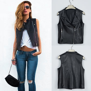 Fashion Women Leather Vest PU Sleevess Motorcycle Vest waistcoat Rivet colete female WaistCoat Biker Gilet Jacket Outwear